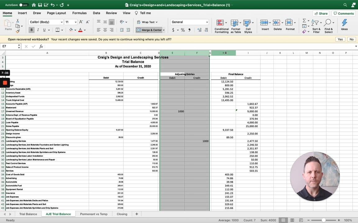 adjusting entries trial balance excel quickbooks online